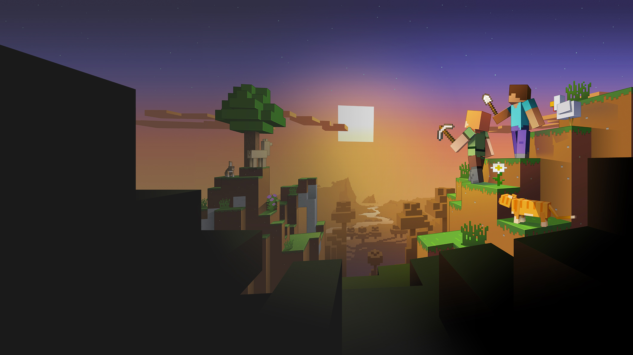 Characters in a Minecraft landscape