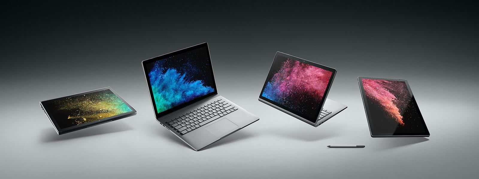 Urządzenie Surface Book 2 pokazane w różnych trybach, z akcesorium piórem Surface.
