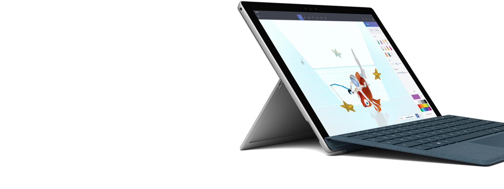 Surface Pro w trybie laptopa z akcesorium , piórem i klawiaturą Type Cover.