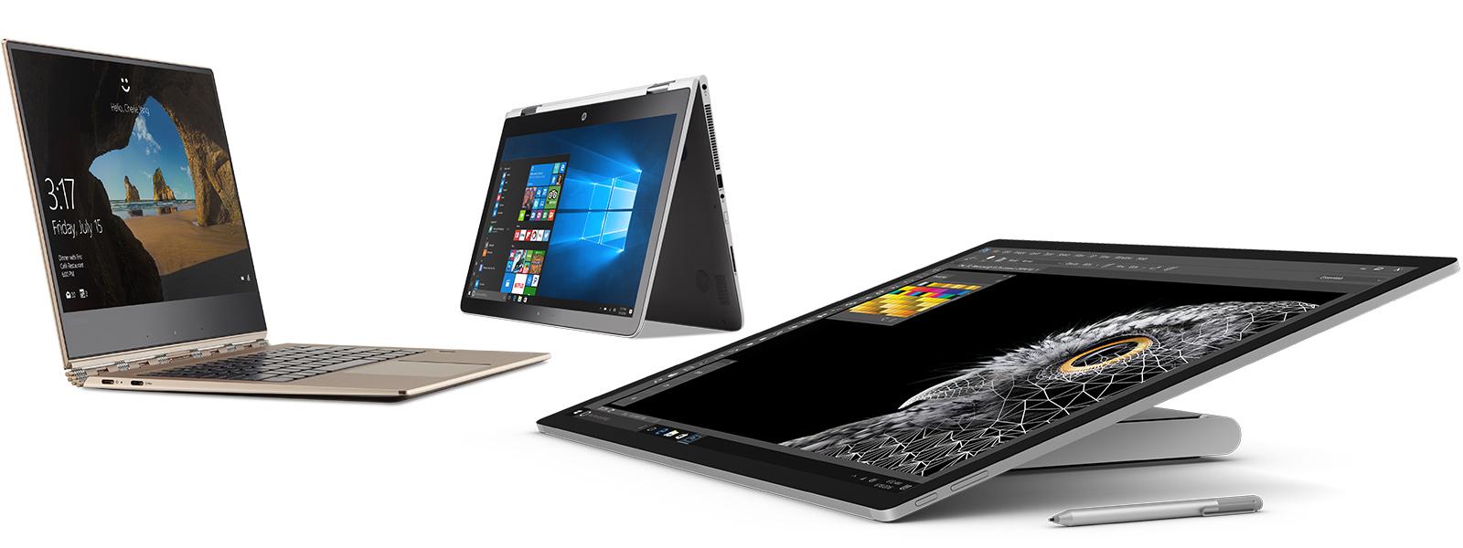 Obraz grupy urządzeń: HP Spectre, Lenovo Yoga iSurface Studio.