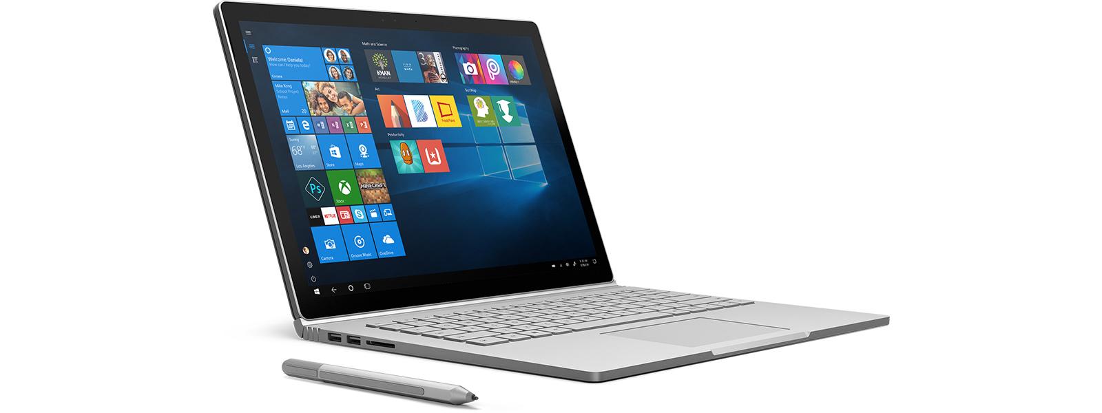 Urządzenie zsystemem Windows10 zaplikacjami na ekranie startowym.