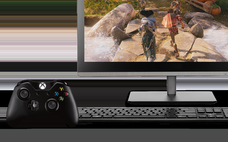 Kontroler konsoli Xbox i urządzenie uniwersalne z aplikacją Xbox na ekranie