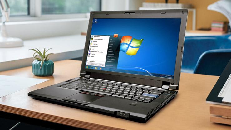 Laptop executando o Windows 7