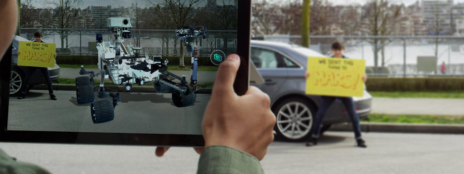 Exibição 3d com a adição de um carro a uma imagem