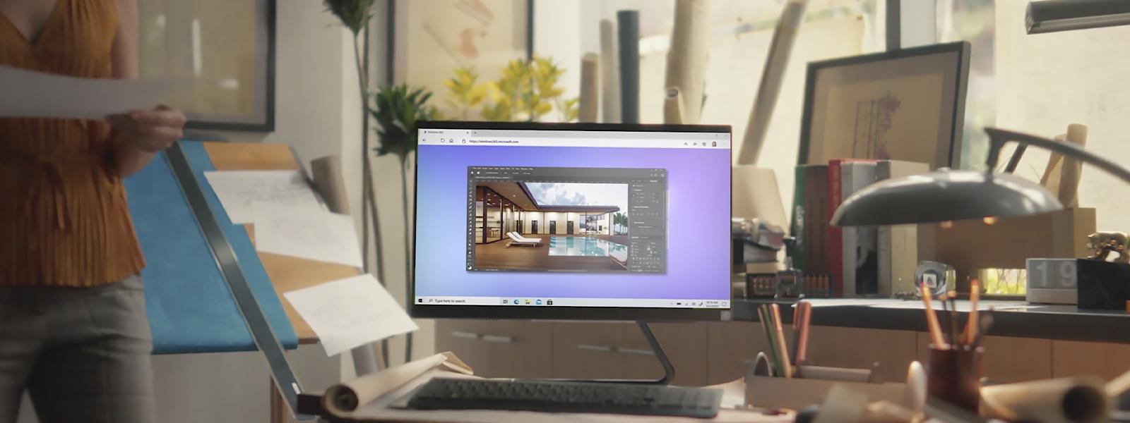 Um PC mostrando o Windows 365 em execução.