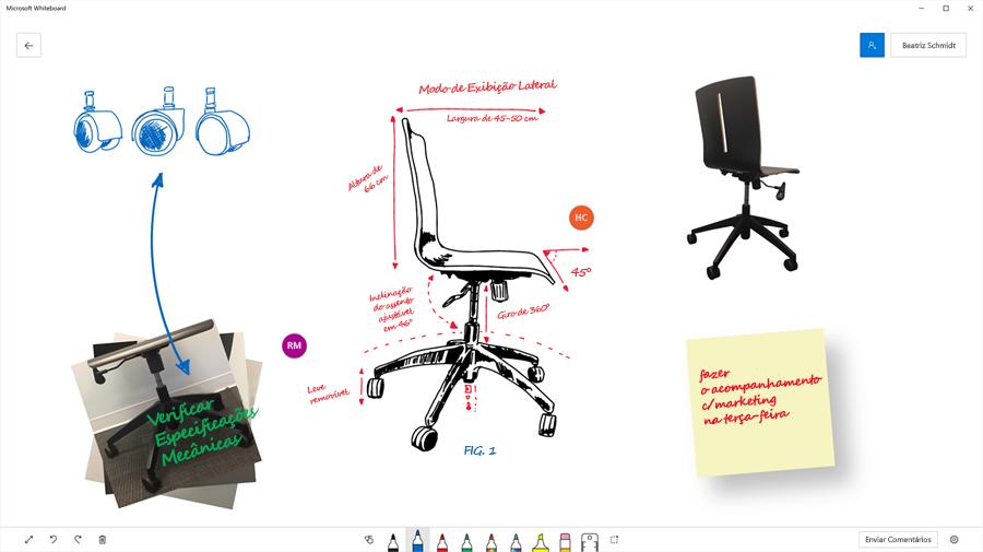 Imagem mostrando como uma equipe usou o Microsoft Whiteboard para visualizar a engenharia de uma cadeira de escritório.