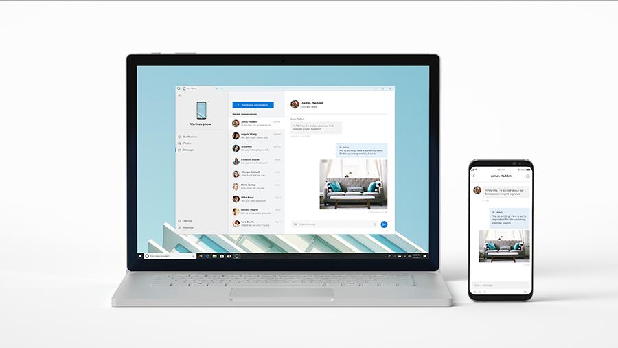 Imagem mostrando um laptop e um dispositivo móvel conectados pelo Windows 10.