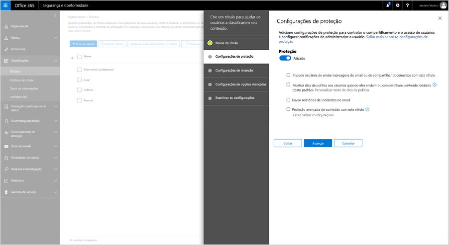 Captura de tela das configurações de Proteção no Centro de Conformidade e Segurança