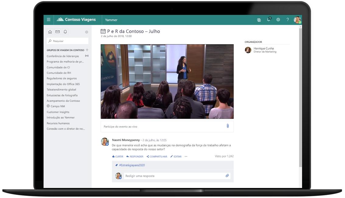 Imagem de um laptop aberto para exibir um evento ao vivo no Microsoft 365.