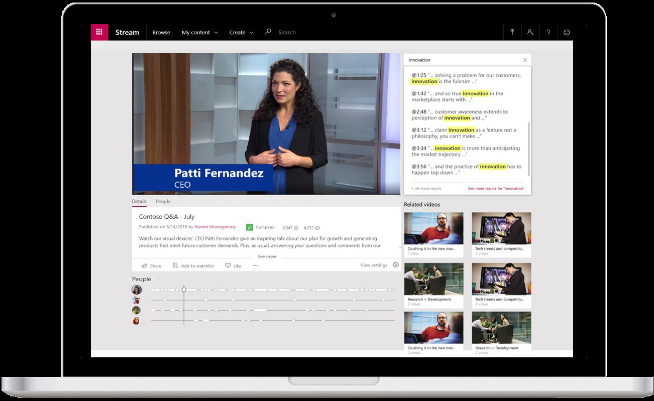Uma captura de tela exibe um vídeo compartilhado no Microsoft Stream.