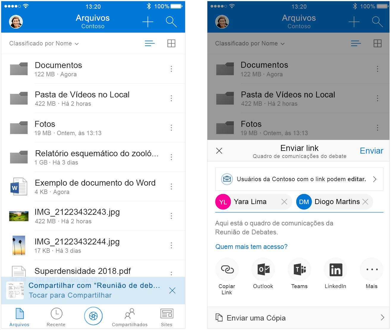 Capturas de tela lado a lado mostram como compartilhar arquivos de forma inteligente no Outlook.