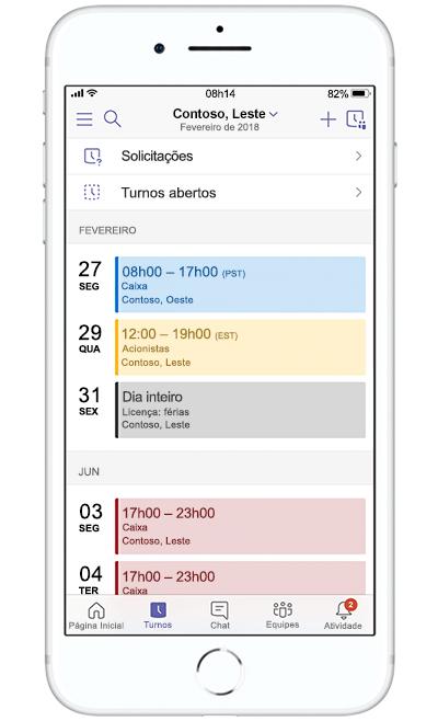 Imagem de um dispositivo móvel criando um evento no Microsoft Teams.