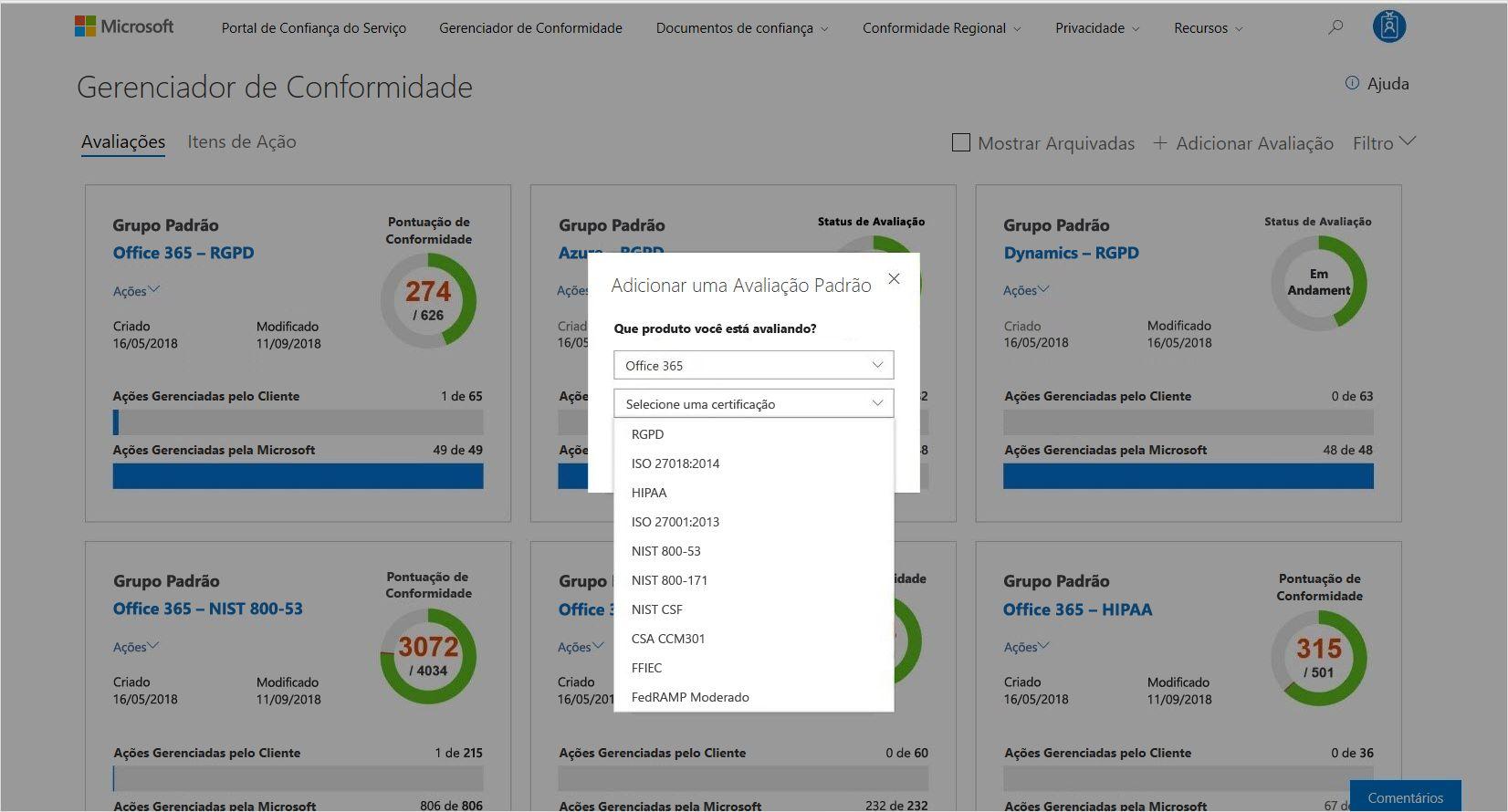 A captura de tela mostra uma avaliação padrão no Gerenciador de Conformidade.
