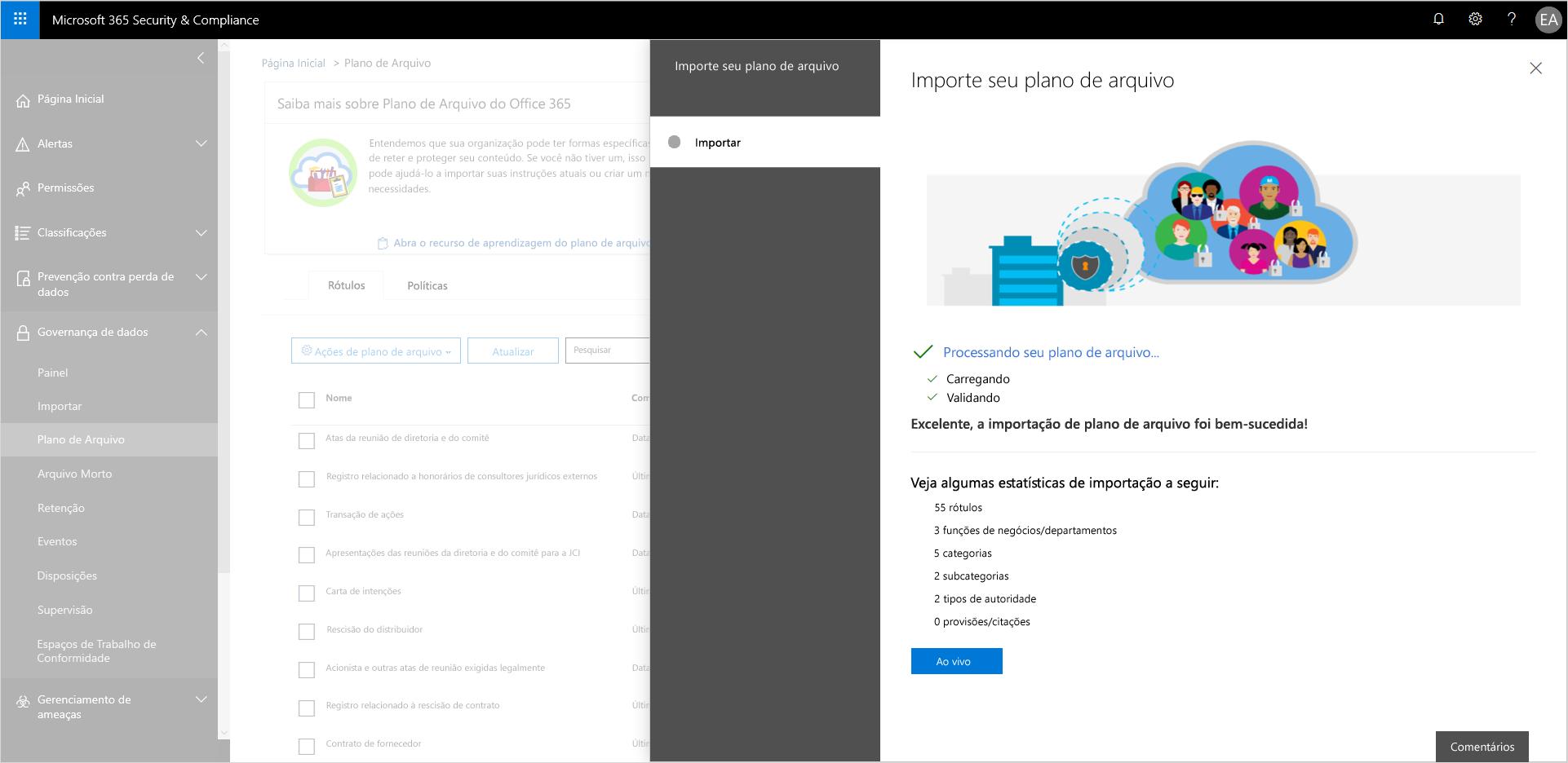 A imagem mostra a importação de arquivos sendo validada em Segurança e Conformidade.
