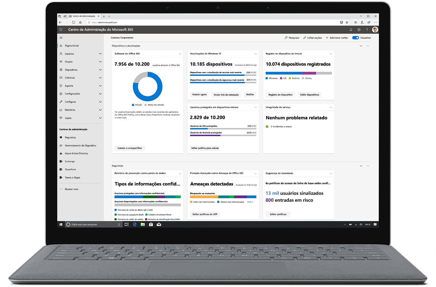 Imagem exibindo o Centro de administração do Microsoft 365 em um laptop aberto.
