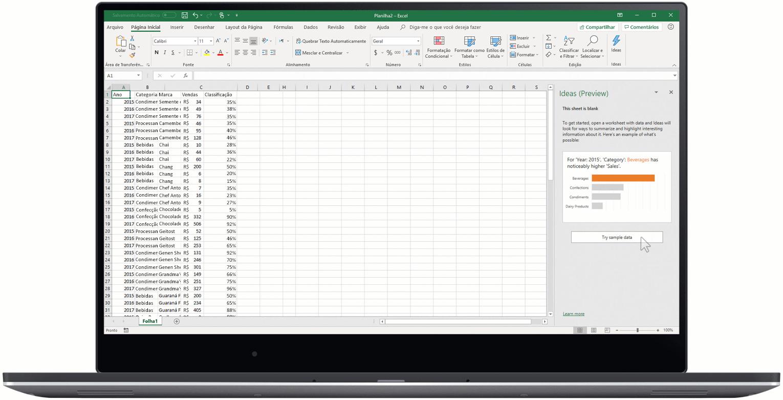 Uma imagem animada mostra o Ideias no Excel.