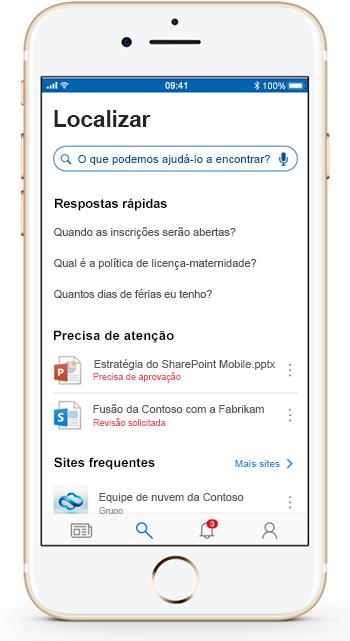 Uma imagem mostra um dispositivo móvel usando o aplicativo móvel do SharePoint.