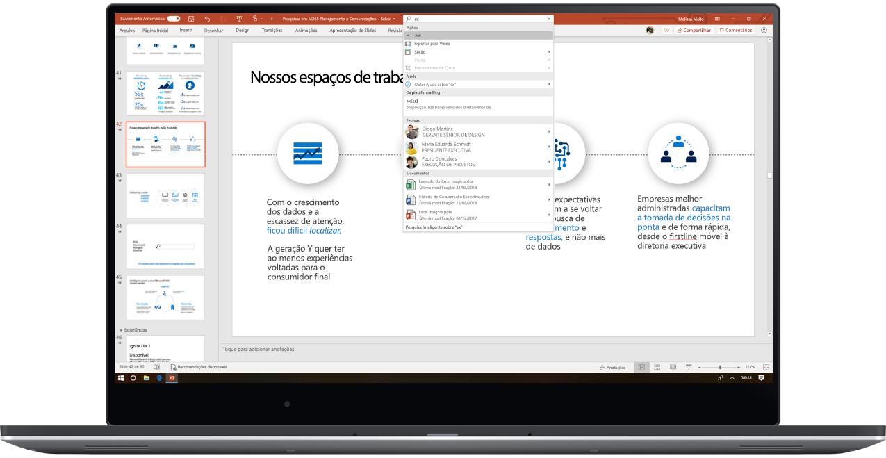 Uma imagem mostra um laptop aberto com uma apresentação do PowerPoint em que o usuário está usando a Pesquisa da Microsoft.