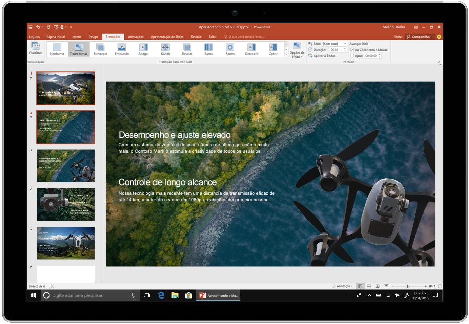Uma imagem mostra um dispositivo usando o PowerPoint no Office 2019.