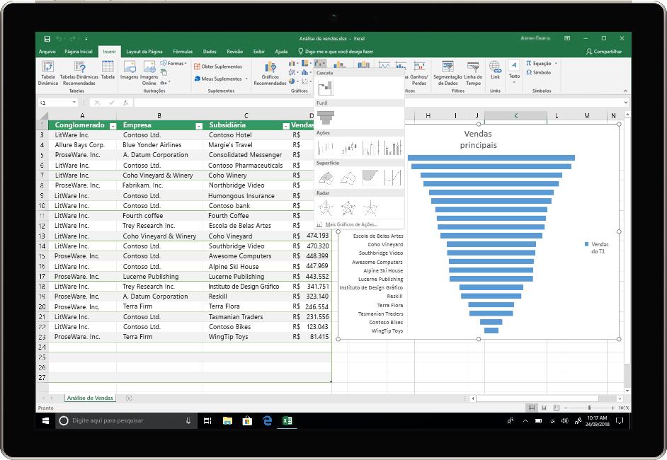 Uma imagem mostra um dispositivo usando o Excel no Office 2019.