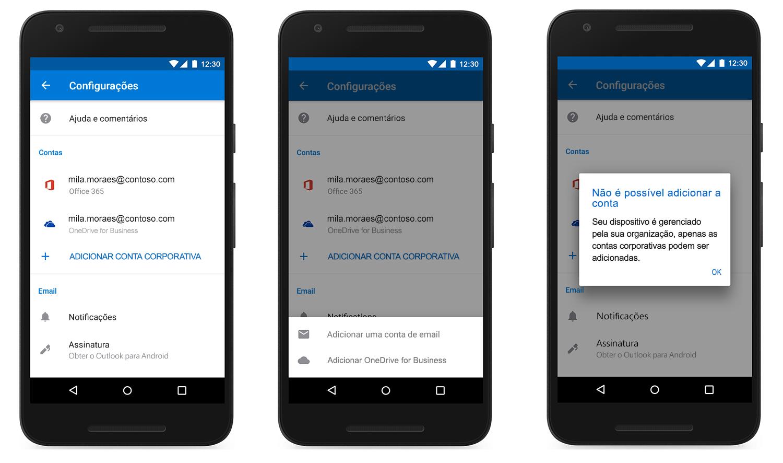 Imagem de três dispositivos mostrando uma conta adicionada ao Outlook Mobile.