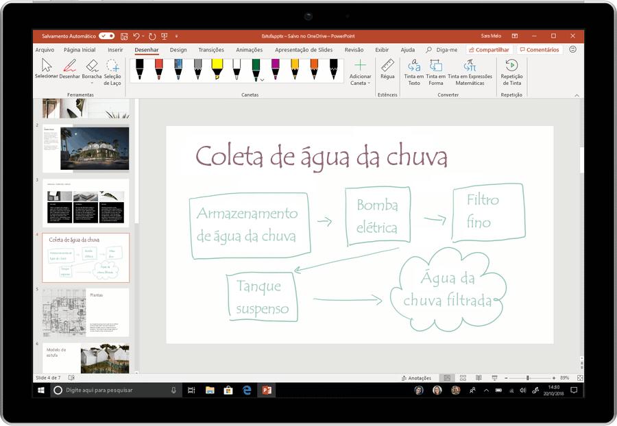 Uma captura de tela animada mostra a tinta sendo convertida em texto no PowerPoint.