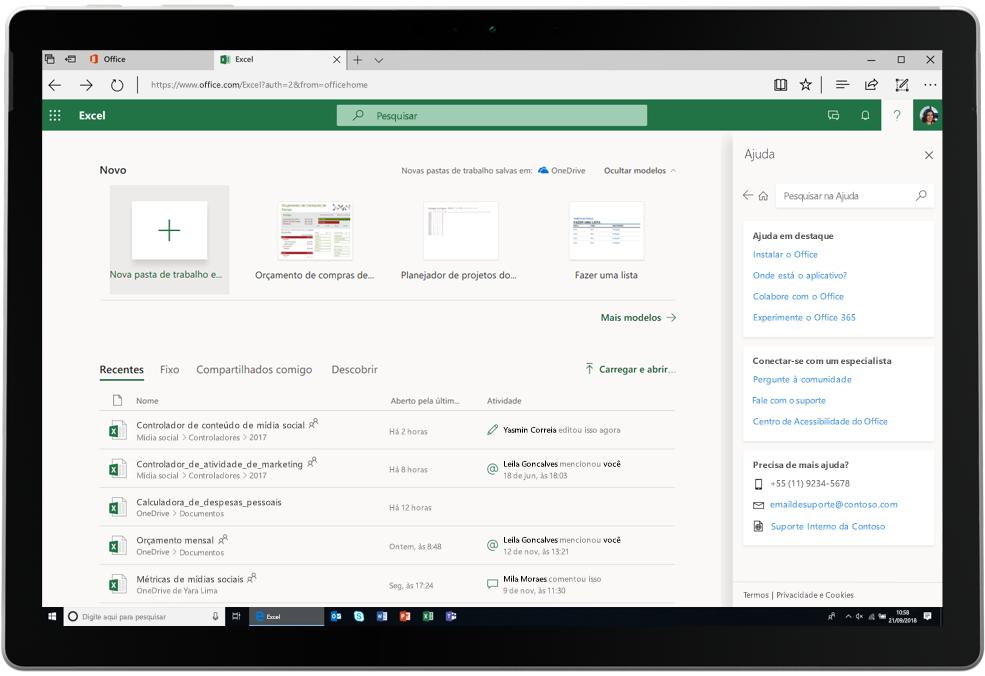 Uma captura de tela exibe uma guia do Excel aberta no Office Online.