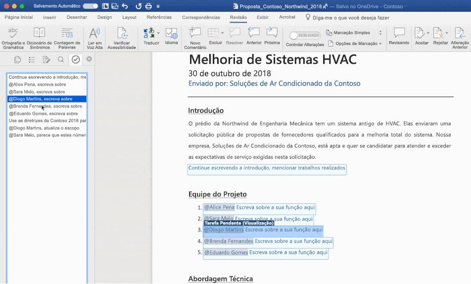 Captura de tela de um documento do Word aberto usando o recurso de tarefas pendentes da IA.