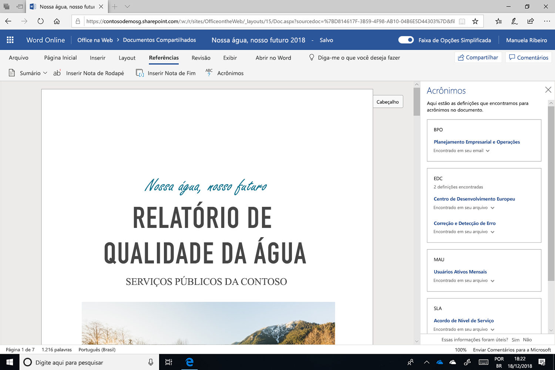 Captura de tela do painel Acrônimos aberto no Microsoft Word.