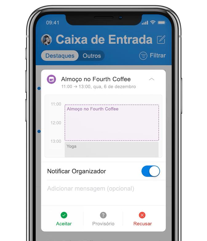 Imagem animada de um smartphone mostrando uma usuária adicionando almoço ao seu calendário.