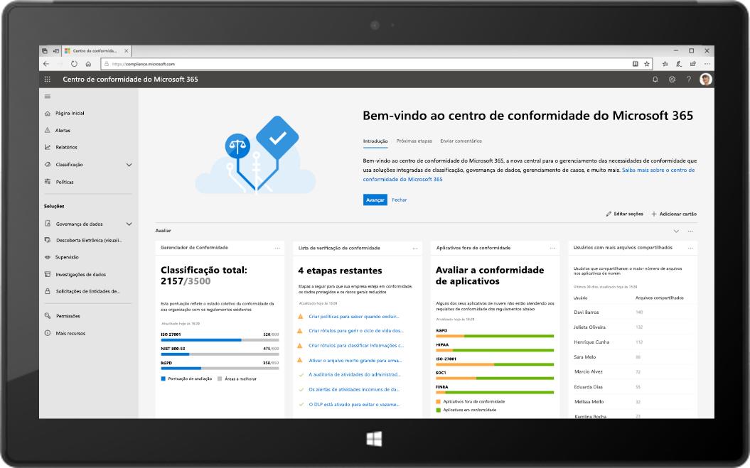 Imagem de um tablet exibindo o novo Centro de conformidade do Microsoft 365.