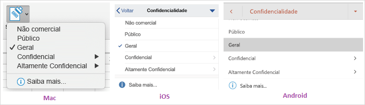 Captura de tela do menu suspenso de confidencialidade de dados exibido no Mac, iOS e Android.