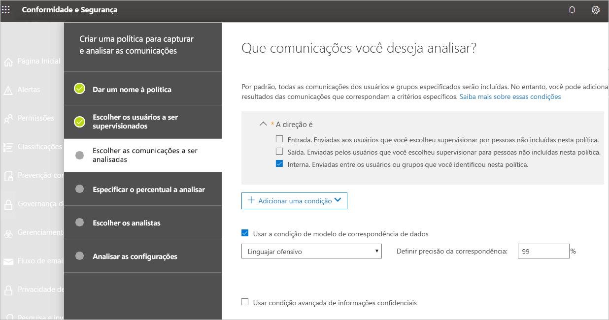 """Captura de tela do Centro de Conformidade e Segurança, em que a usuária está escolhendo uma comunicação para analisar. Ela marcou """"interna""""."""
