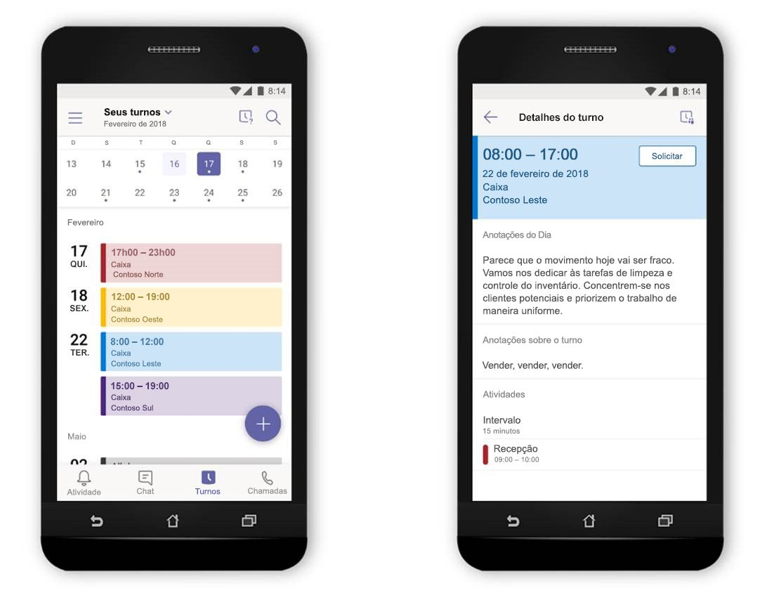 Uma imagem de dois celulares, lado a lado, exibindo o recurso Turnos no Microsoft Teams.