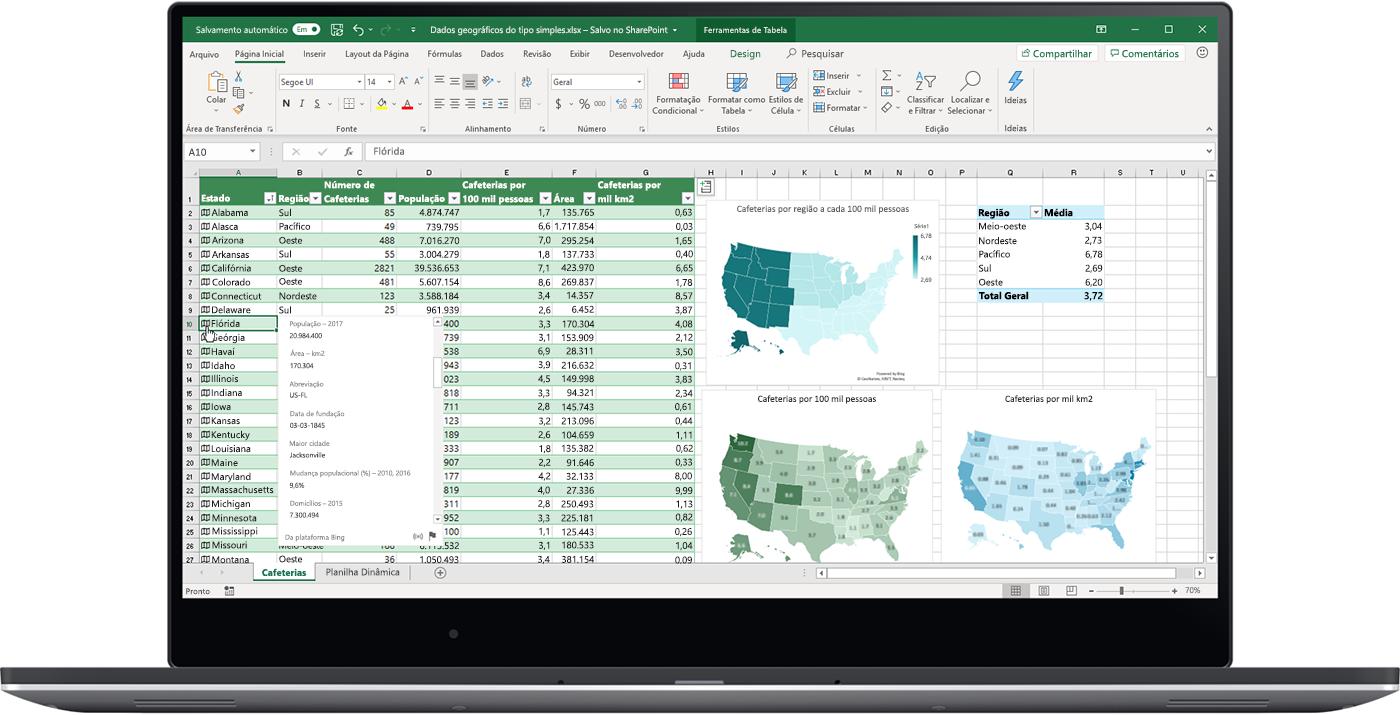 Imagem de uma planilha do Excel aberta em um laptop. Os tipos de dados estão sendo usados.