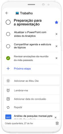 Imagem de um telefone usando o Microsoft To-Do para agendar o tempo de preparação de uma apresentação.