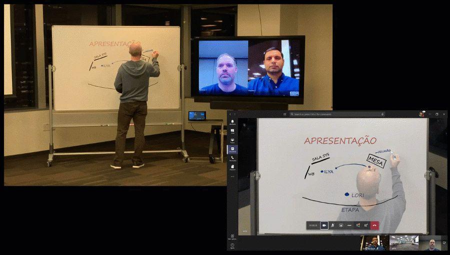 Imagem animada mostrando o Intelligent Capture usado no Teams.