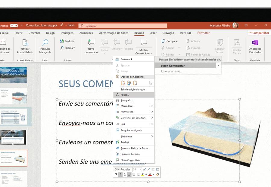 Captura de tela do suporte a vários idiomas utilizado em um slide do Microsoft PowerPoint.