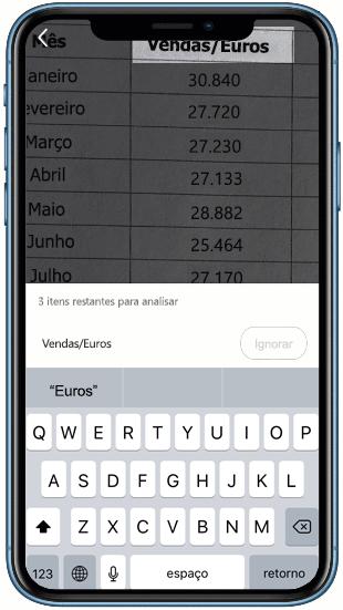 Captura de tela de Inserir dados da imagem no Excel.