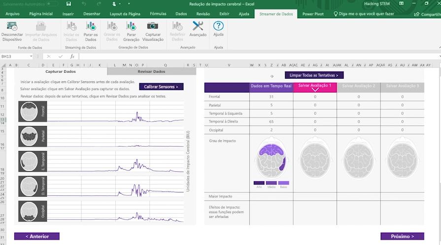 Captura de tela de uma pasta de trabalho de impacto cerebral usando o Streamer de Dados no Excel