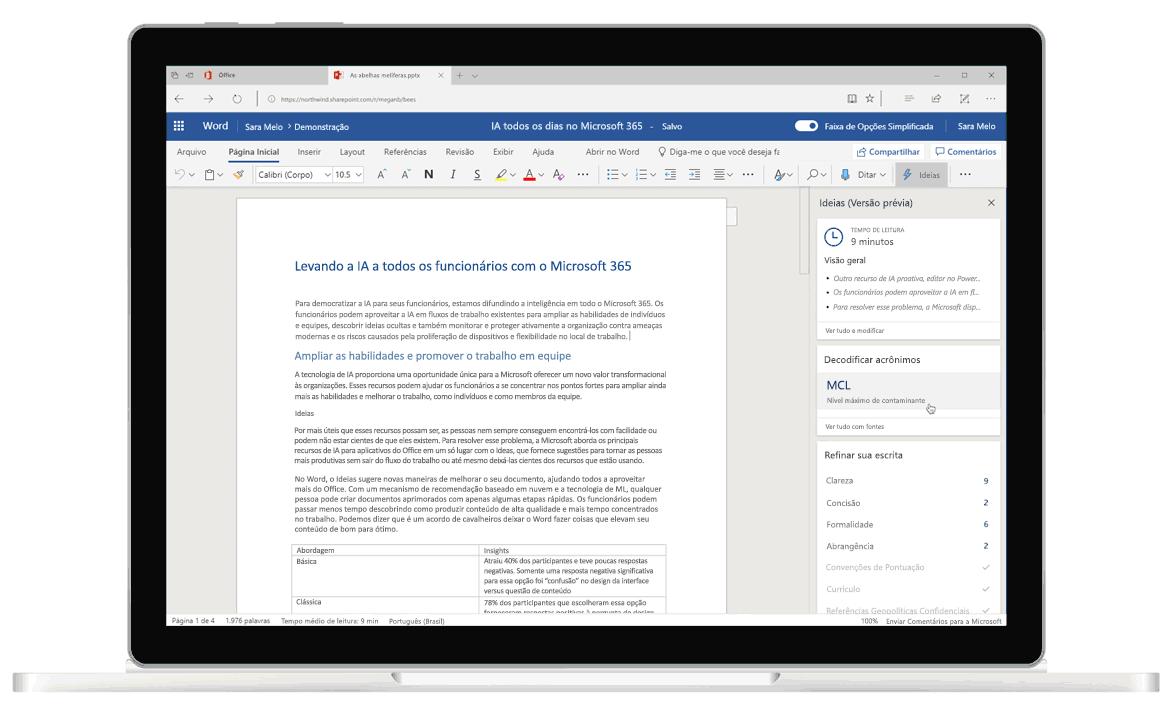 Captura de tela das Ideias no Word, o editor baseado em inteligência artificial que ajuda com sugestões gramaticais e de escrita.