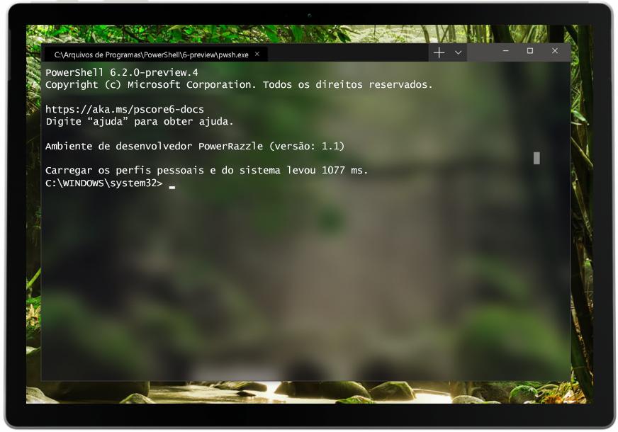 Captura de tela do Terminal do Windows usado em um tablet.