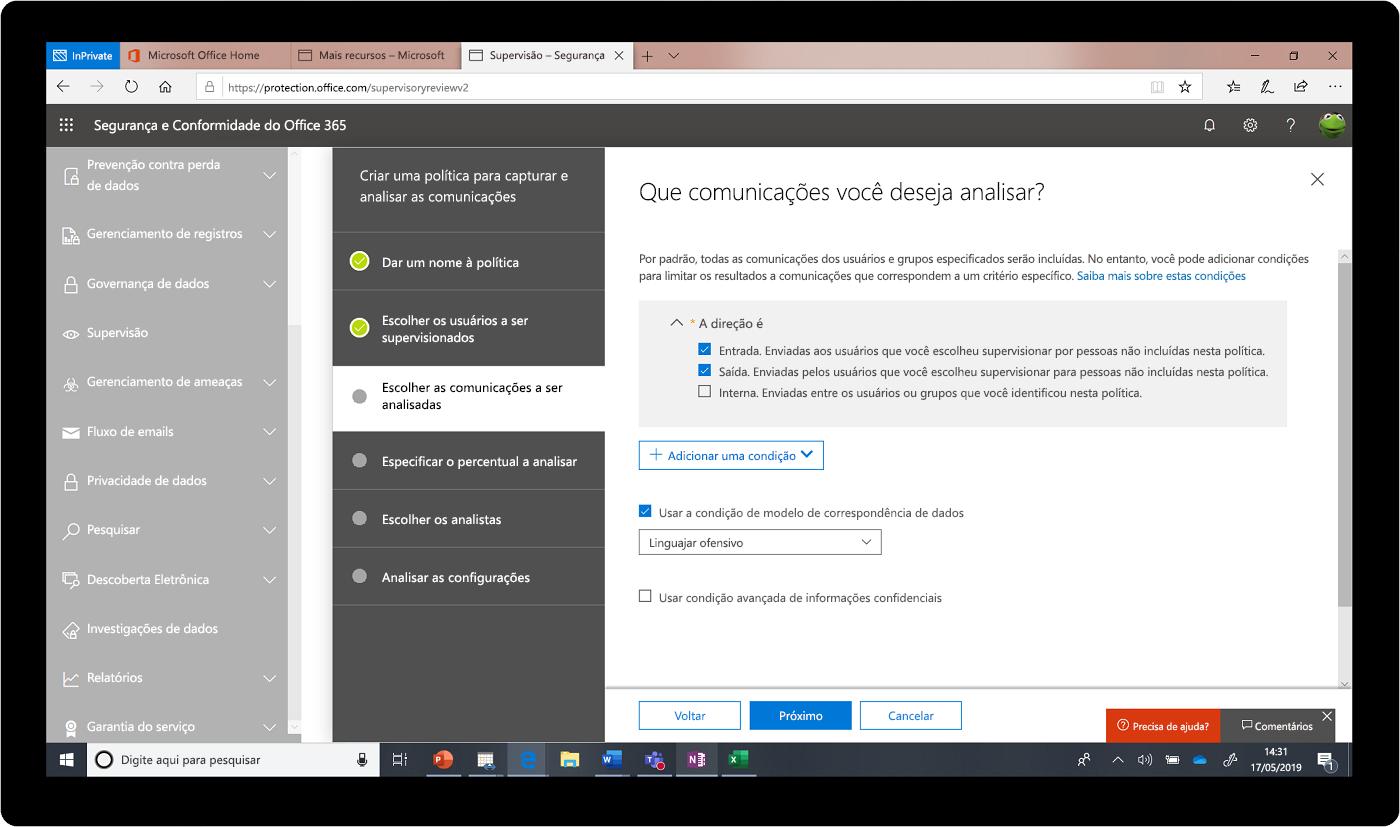 Captura de tela do Centro de Conformidade e Segurança do Office 365.