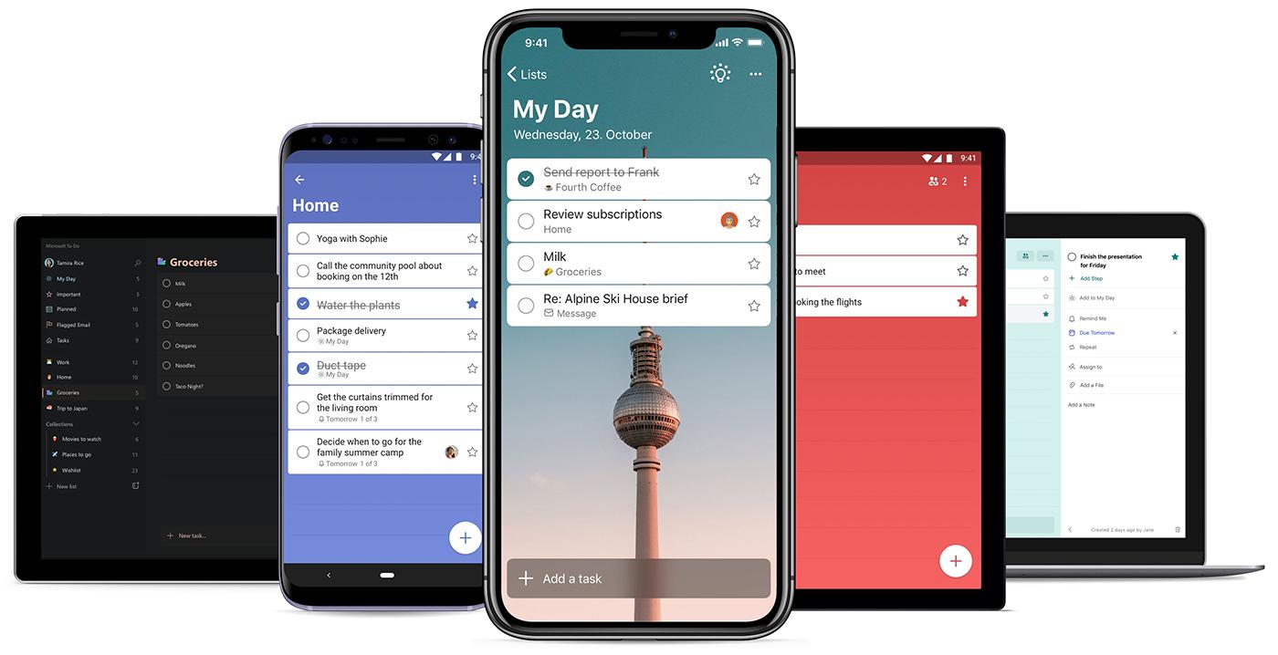 Imagem de listas do Meu Dia em cinco dispositivos diferentes, incluindo tablets, telefones e um computador.