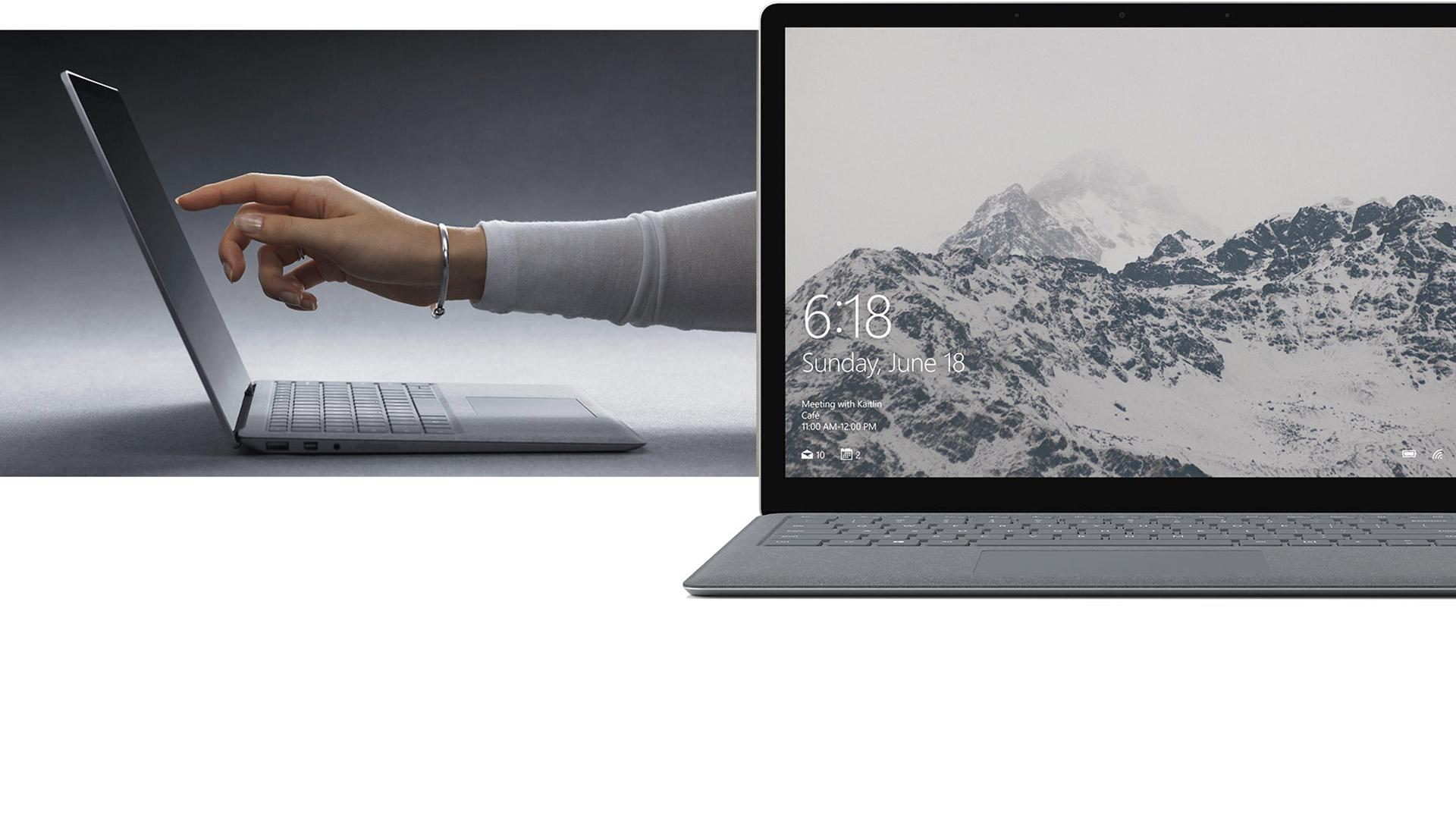 Mulher a utilizar o ecrã tátil do Surface Laptop.