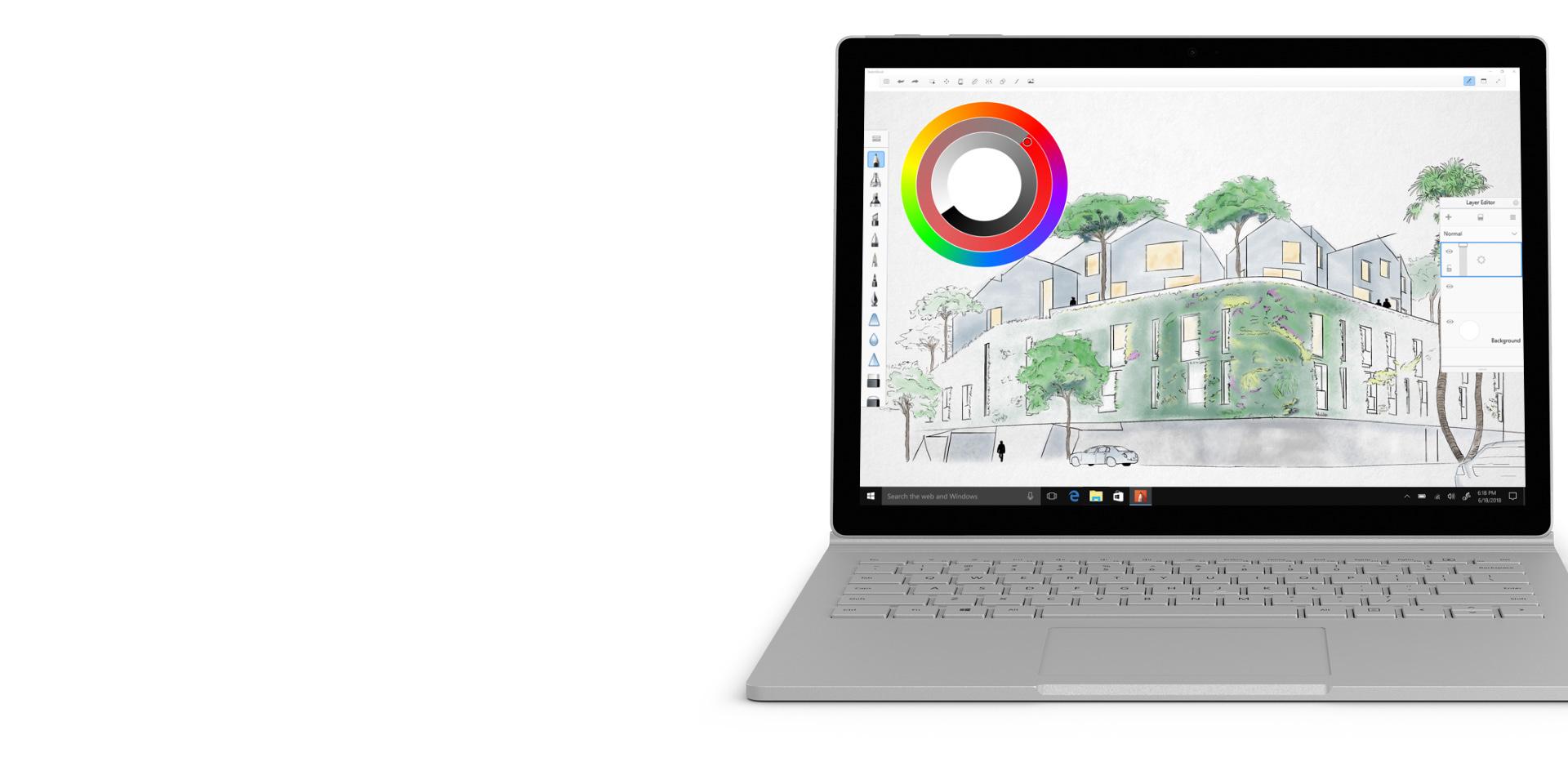 Autodesk SketchBook no ecrã do Surface Book 2