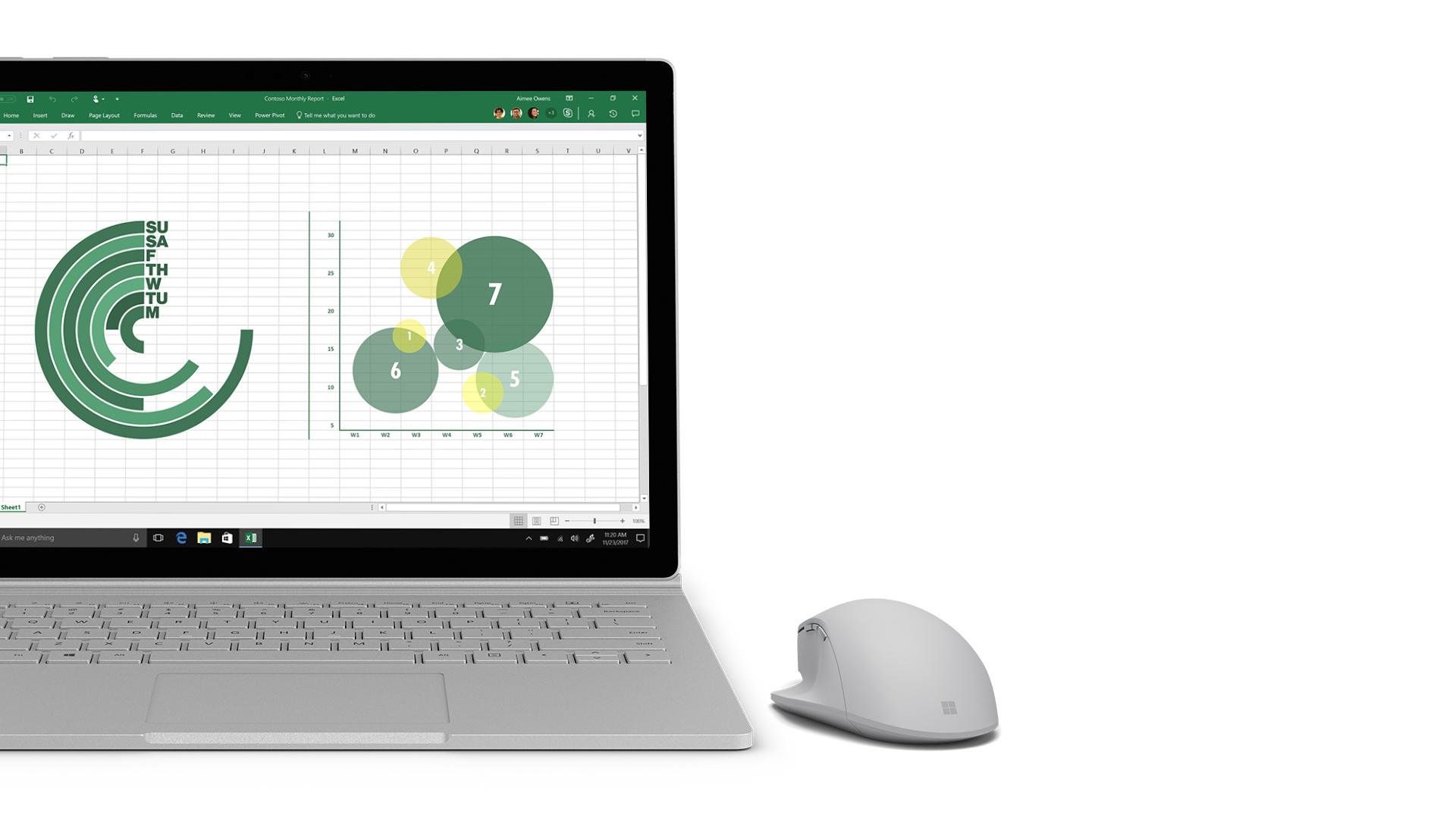 Captura de ecrã do Excel no Surface.