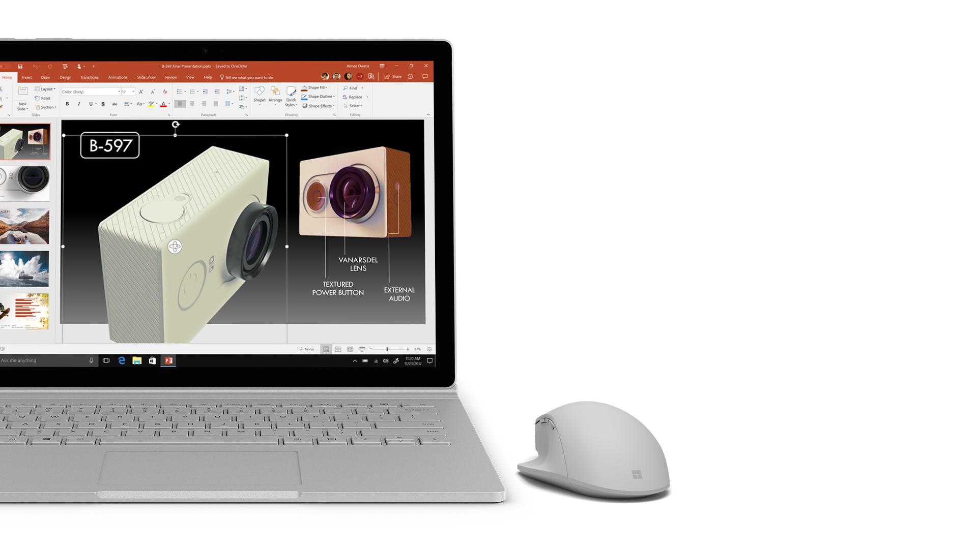 Captura de ecrã do PowerPoint no Surface.