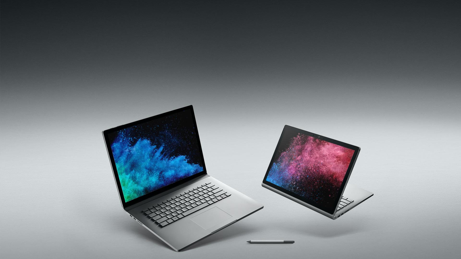 Surface Book 2 de 15 pol e Surface Book 2 de 13,5 pol