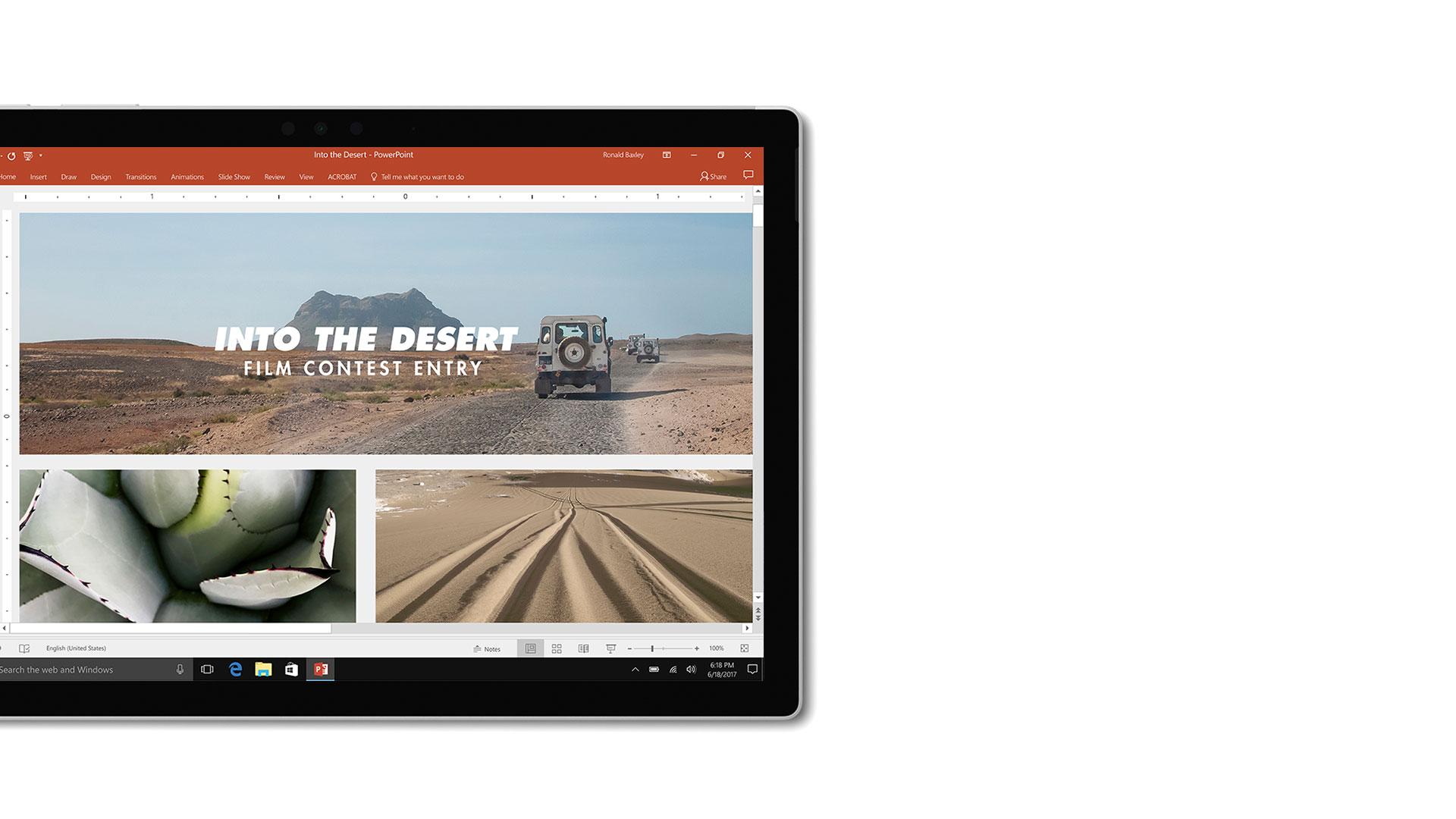 Imagem da interface de utilizador do Microsoft PowerPoint